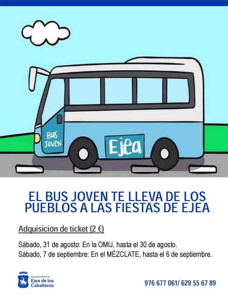 El Ayuntamiento de Ejea habilita un bus para que los jóvenes de los Pueblos de Ejea puedan desplazarse a sus fiestas mayores