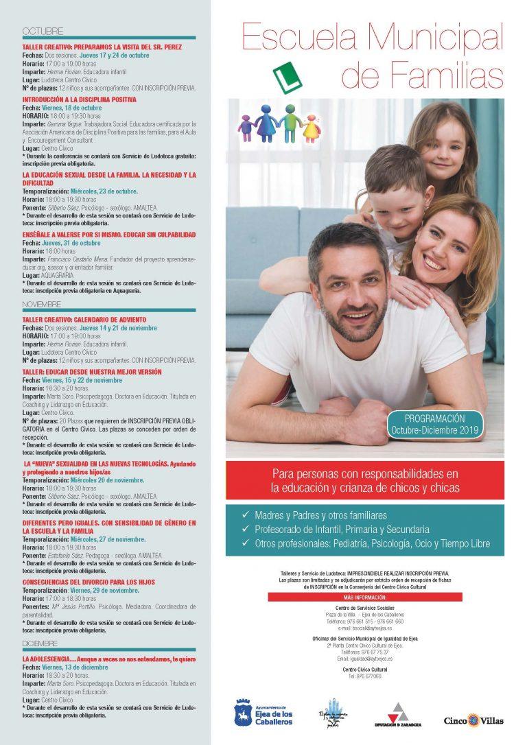 Comienzan los talleres y actividades de la Escuela Municipal de Familias
