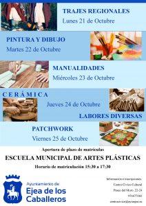 Escuela de Artes Plásticas y de artesanías: proceso de matrículas para las actividades del curso 2019-2020