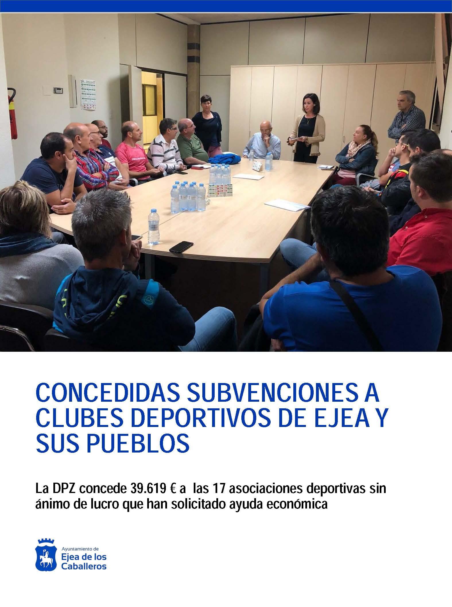 La Diputación Provincia de Zaragoza concede ayudas a clubes y asociaciones deportivas de Ejea de los Caballeros y sus pueblos