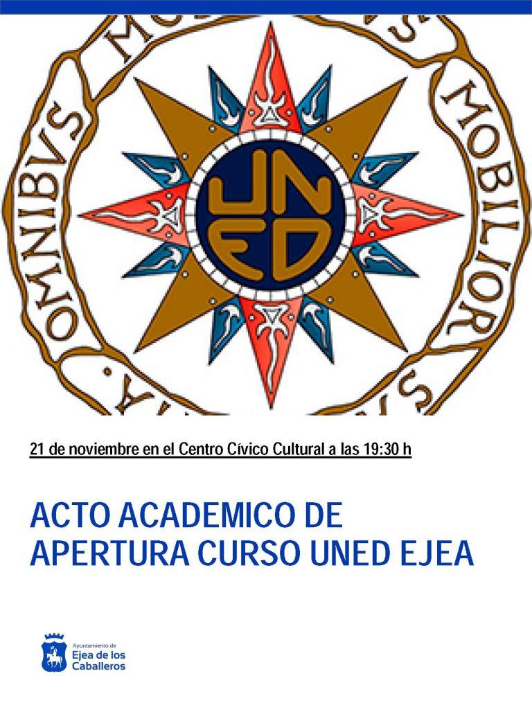 Acto Académico de apertura del Curso 2019-2020 del Aula de la UNED en Ejea de los Caballeros