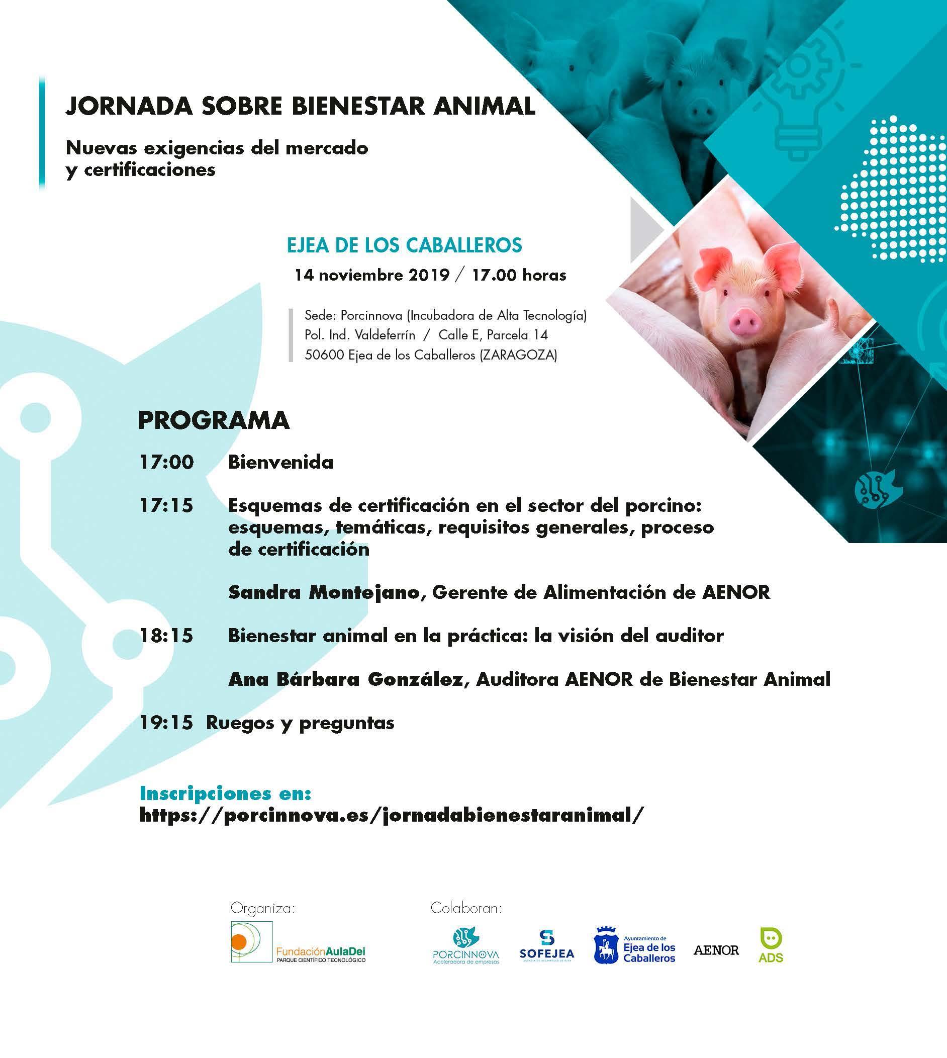 Fundación Aula Dei y Sofejea organizan jornada sobre bienestar animal en Porcinnova
