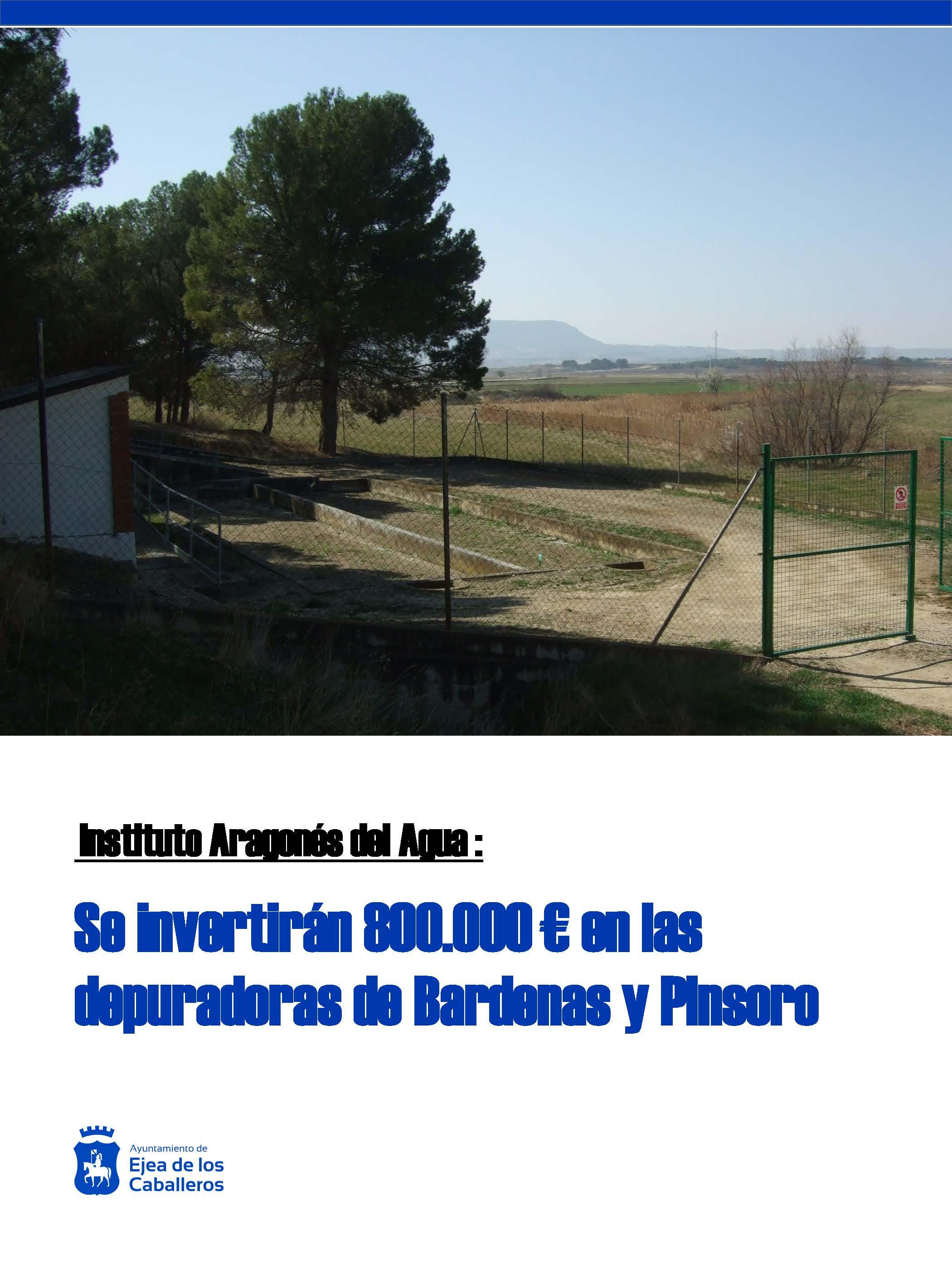 El Gobierno de Aragón invertirá 800.000 € en las depuradoras de Pinsoro y Bardenas