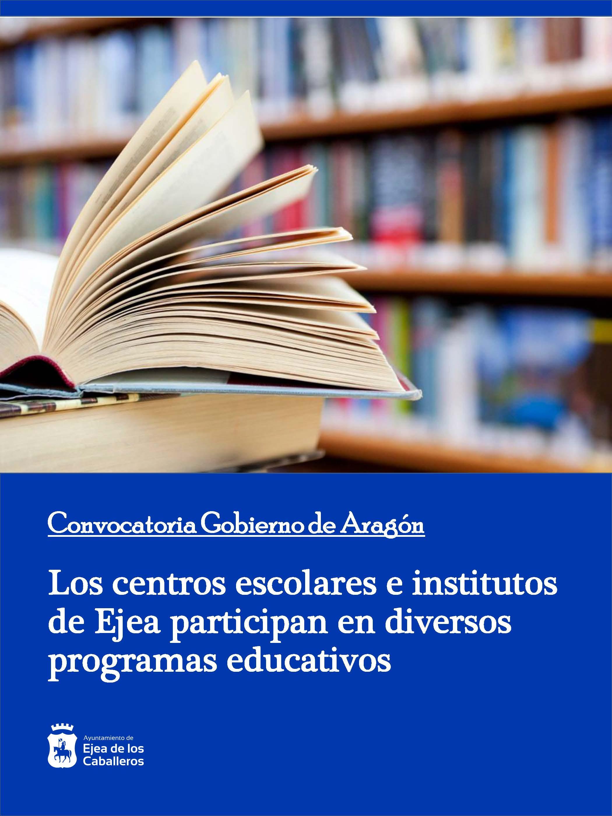 Varios centros de enseñanza de Ejea participarán en programas educativos del Gobierno de Aragón