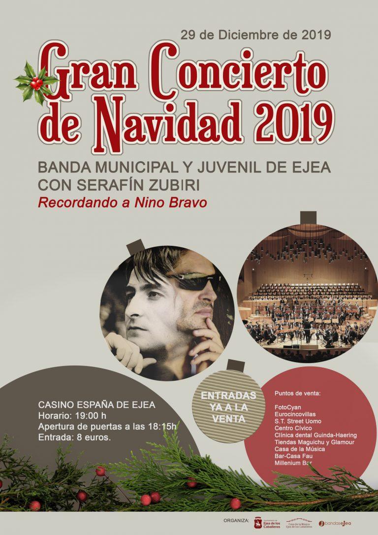 SERAFÍN ZUBIRI Y LA BANDA MUNICIPAL Y JUVENIL DE EJEA RECUERDAN A NINO BRAVO CONCIERTO DE NAVIDAD 2019