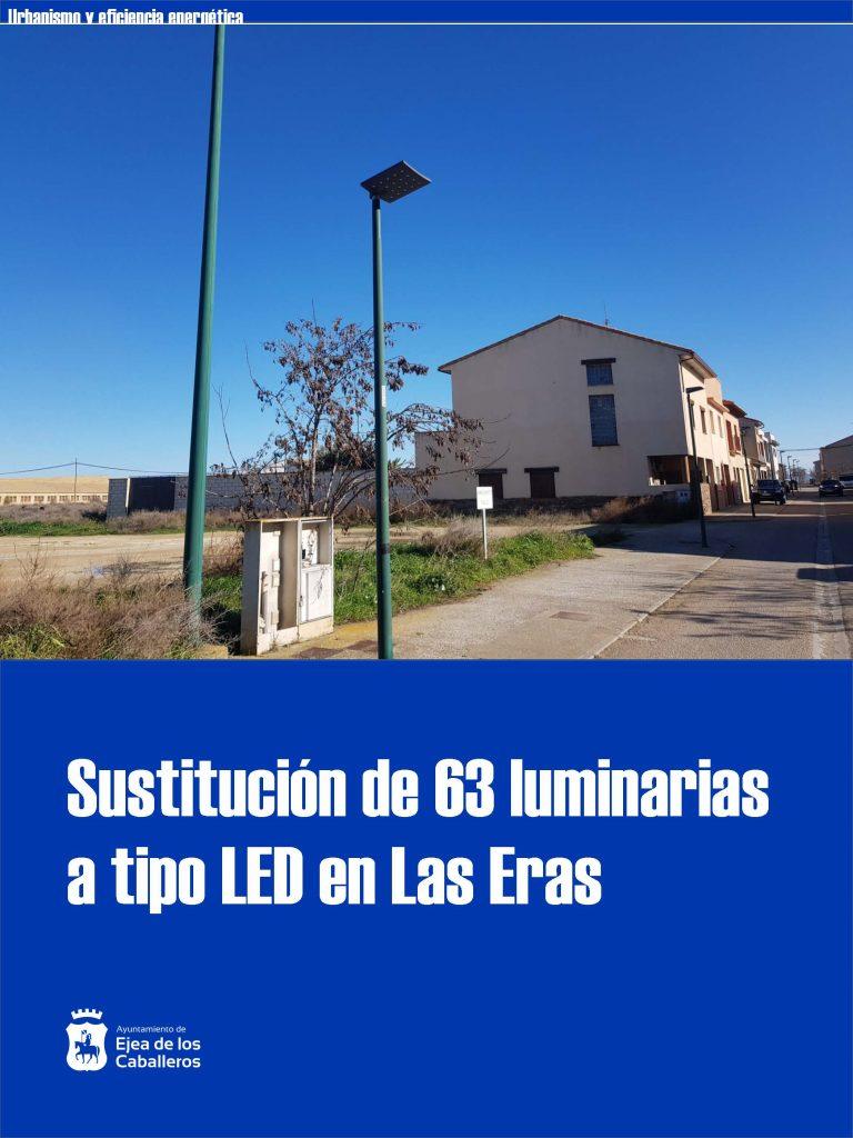 Instalación de nuevas luminarias LED en el barrio de Las Eras de Ejea