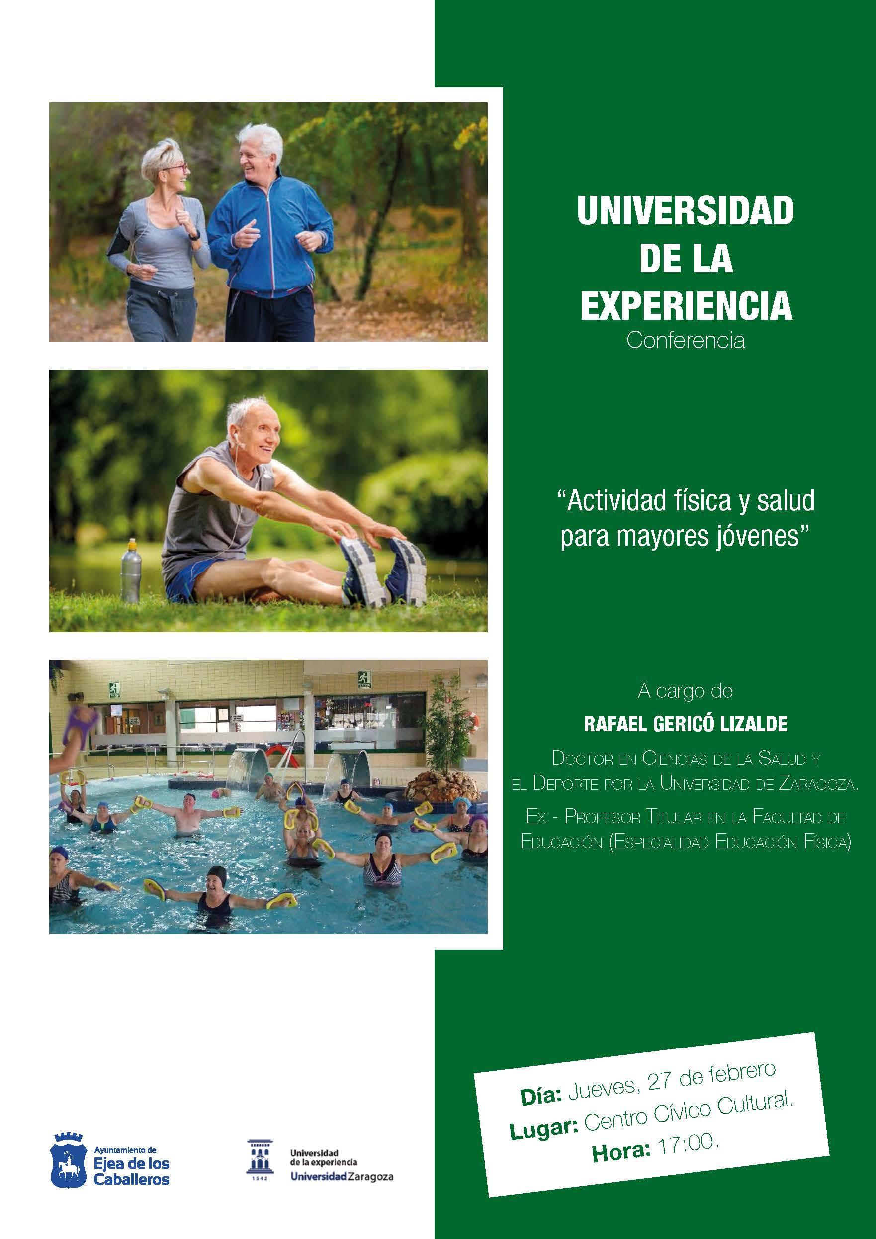 """""""Actividad Física y Salud para Mayores Jóvenes"""": Conferencia de la Universidad de la Experiencia a cargo del profesor Rafael Gericó Lizalde"""