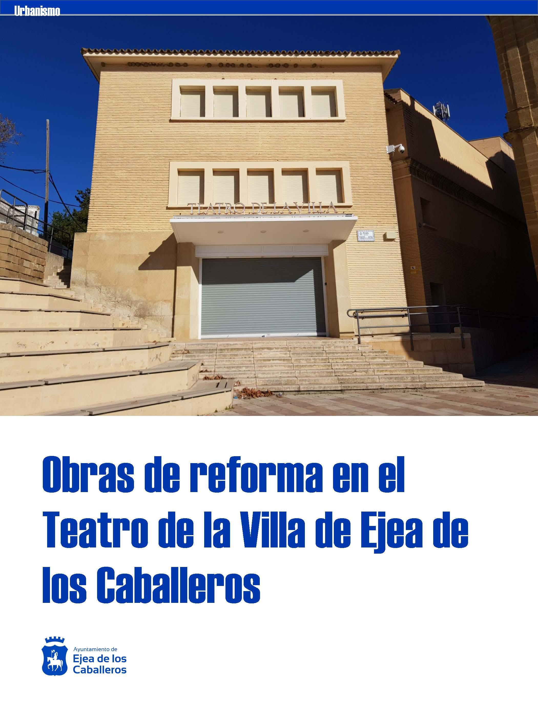 El Ayuntamiento de Ejea de los Caballeros acometerá obras de reforma en el Teatro de la Villa