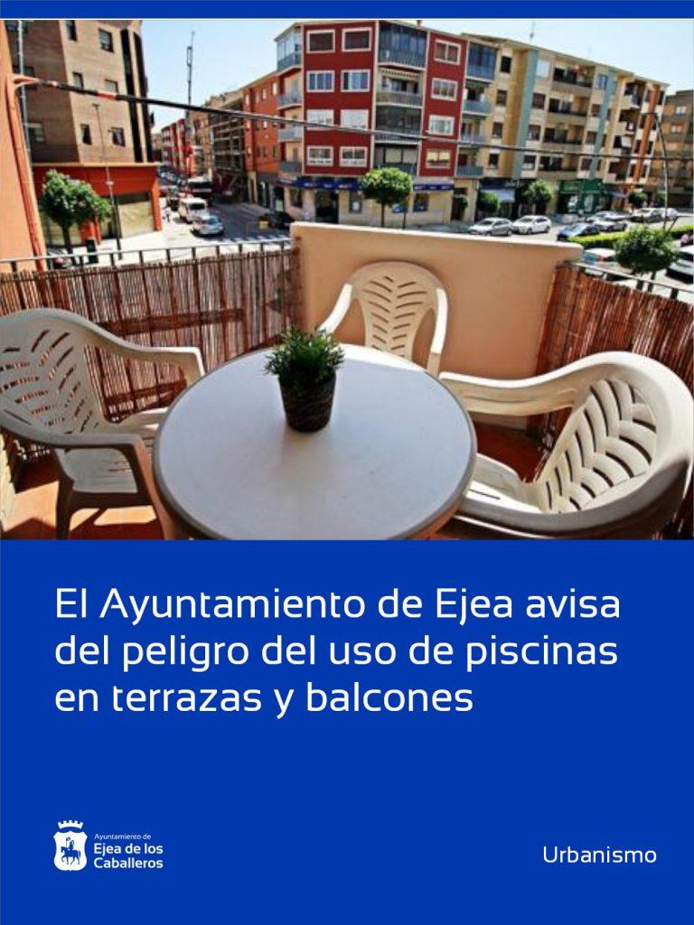 El Ayuntamiento de Ejea de los Caballeros avisa del peligro del uso de piscinas en terrazas y balcones