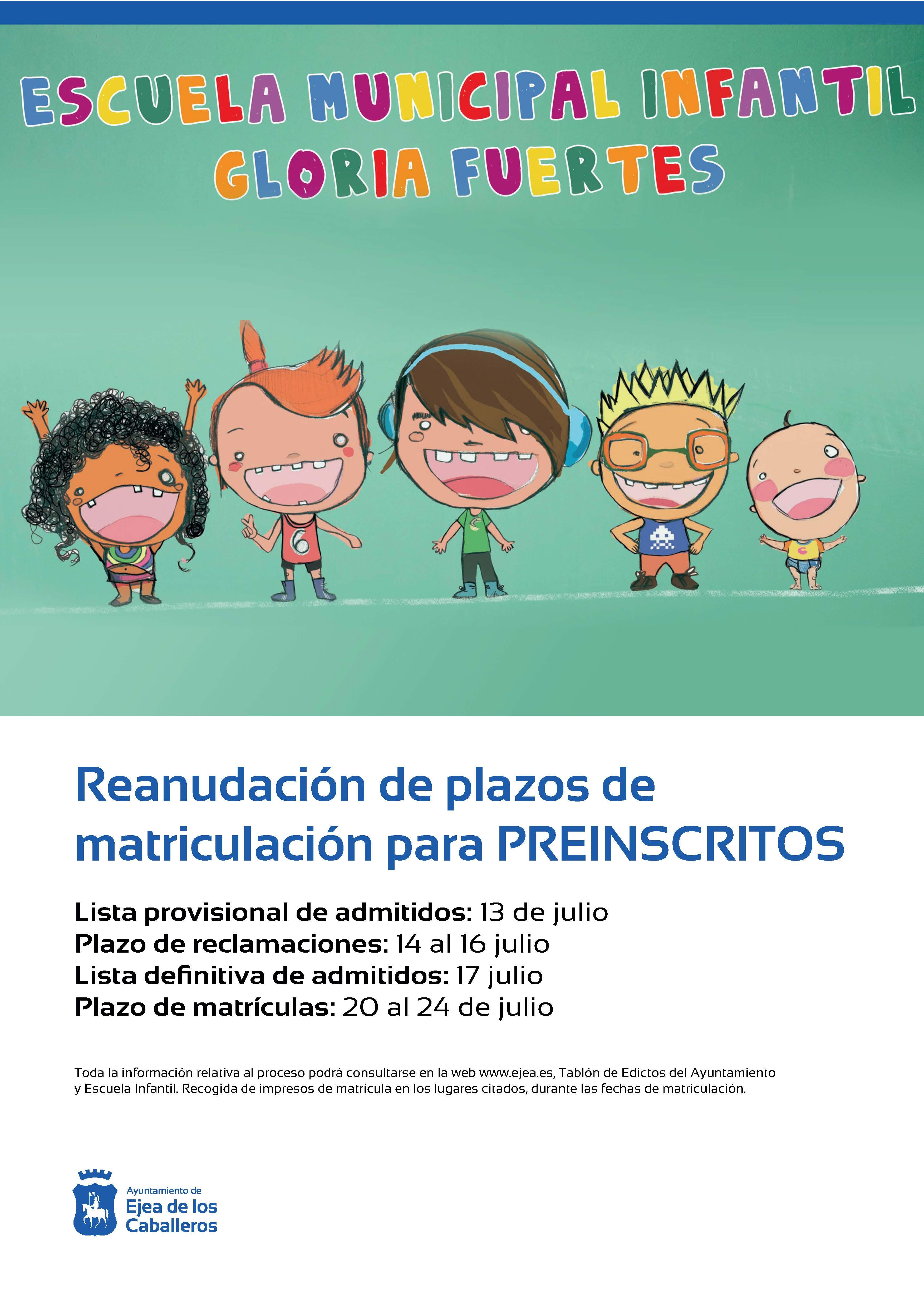 Reanudación de plazos de matriculación de la Escuela Municipal Infantil