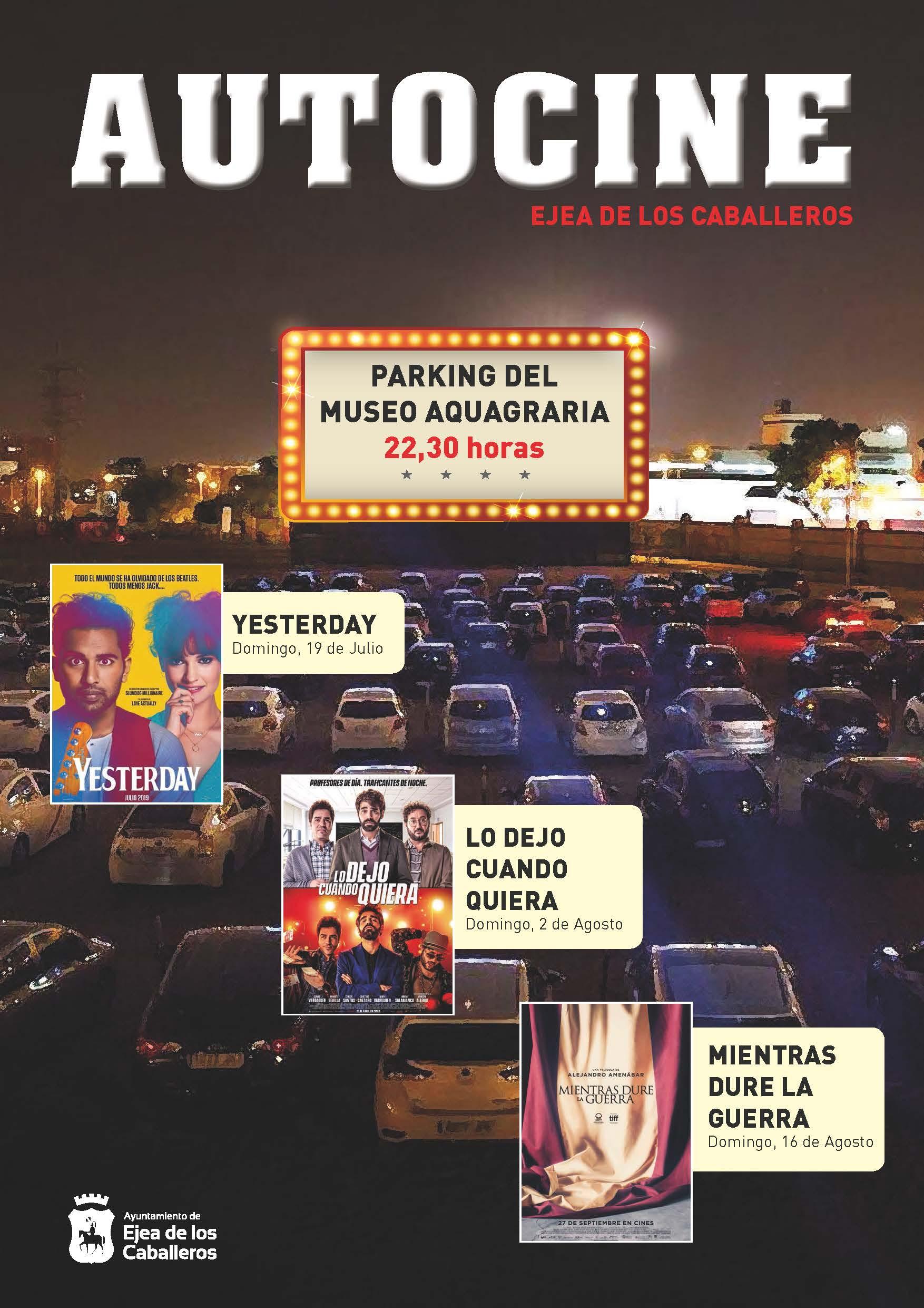 La experiencia del Autocine llega a Ejea con la proyección de tres películas en el parking del Museo Aquagraria
