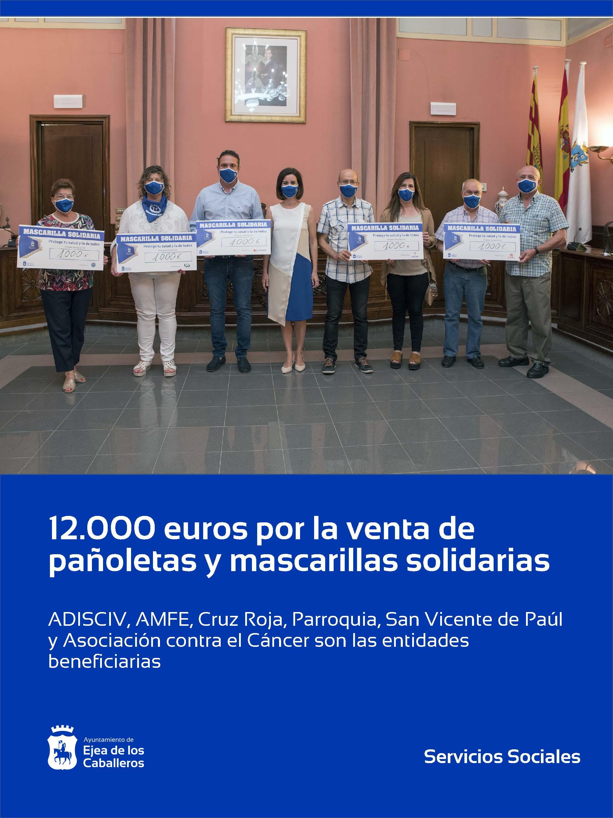 Las entidades sociales de Ejea de los Caballeros reciben 12.000 euros por la venta de mascarillas y pañoletas solidarias