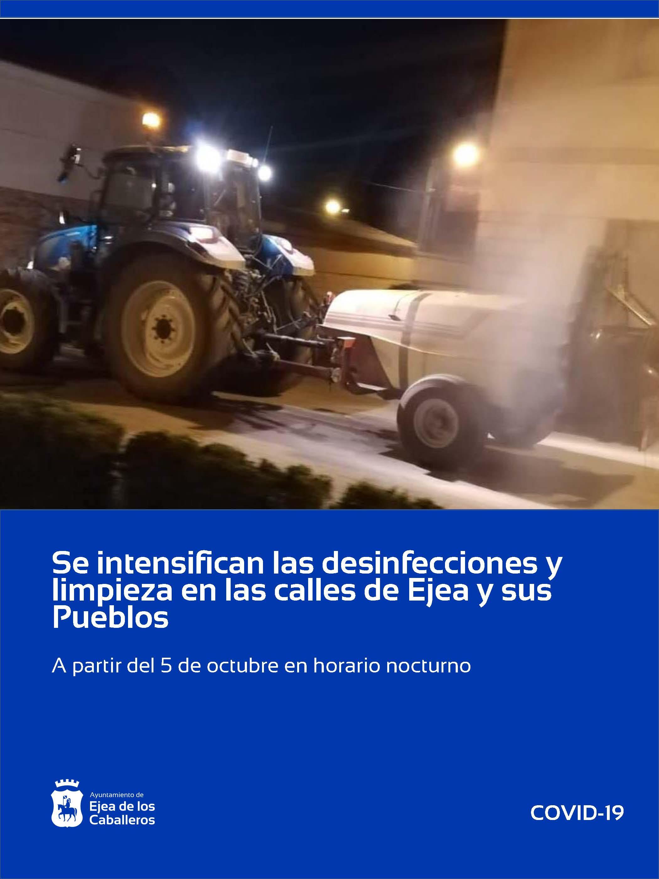 Se intensifican las labores de desinfección y de limpieza en las calles de Ejea de los Caballeros y sus Pueblos