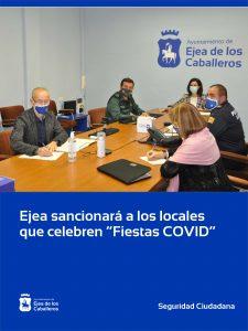 El Ayuntamiento de Ejea de los Caballeros suspenderá la licencia y clausurará durante seis meses e impondrá sanciones de hasta 30.000 euros a los locales en los que se celebren «Fiestas COVID»