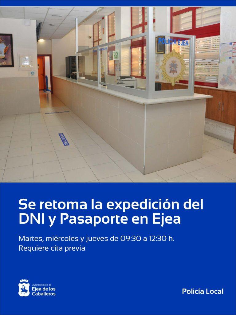 Se retoma la expedición del DNI y Pasaporte en Ejea de los Caballeros