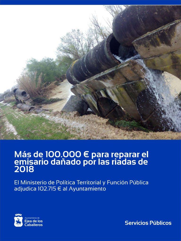 Más de 100.000 euros para reparar la tubería del emisario por las riadas de 2018