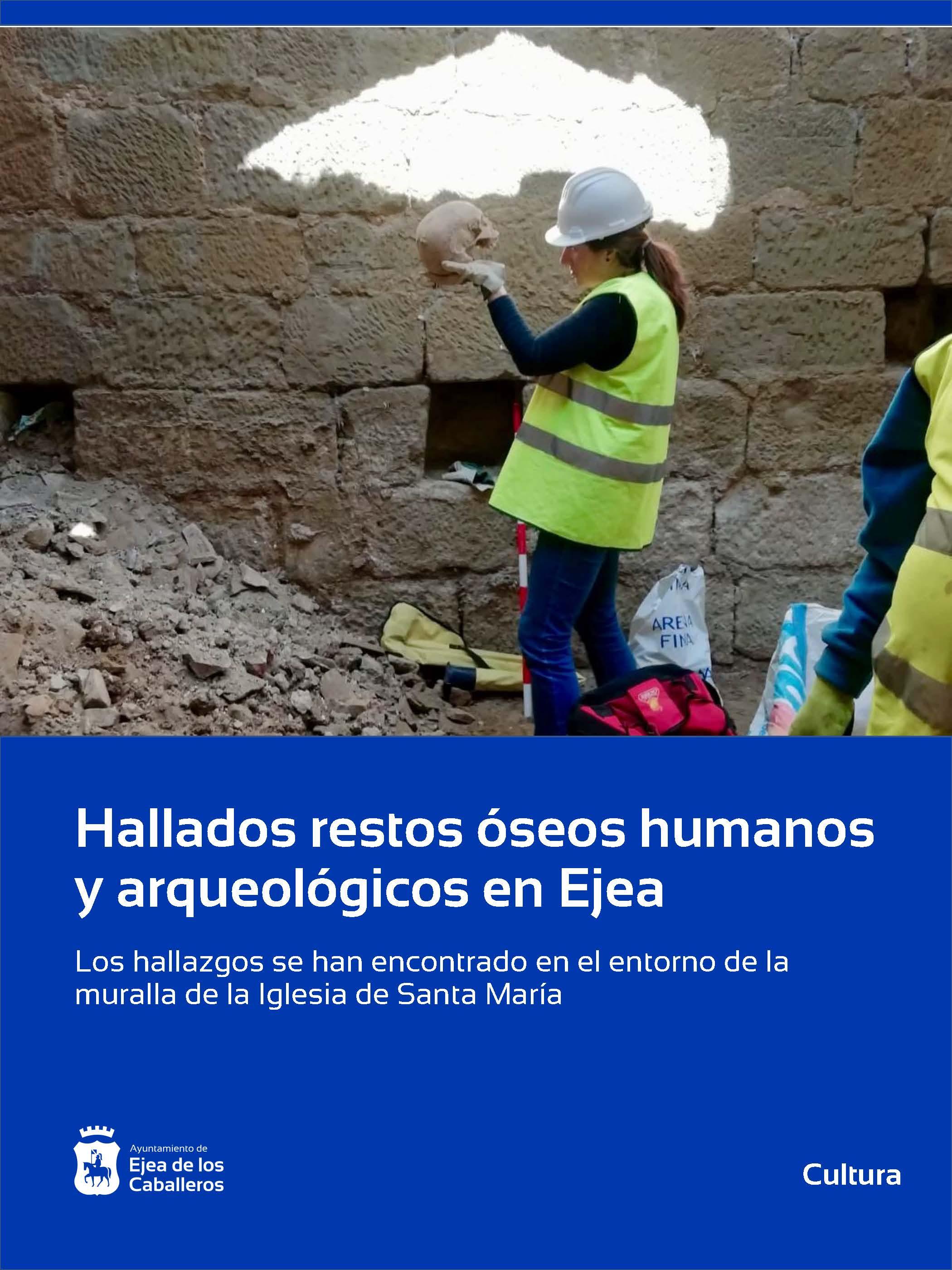 Hallados restos óseos humanos y arqueológicos en el entorno de la muralla de Santa María de Ejea