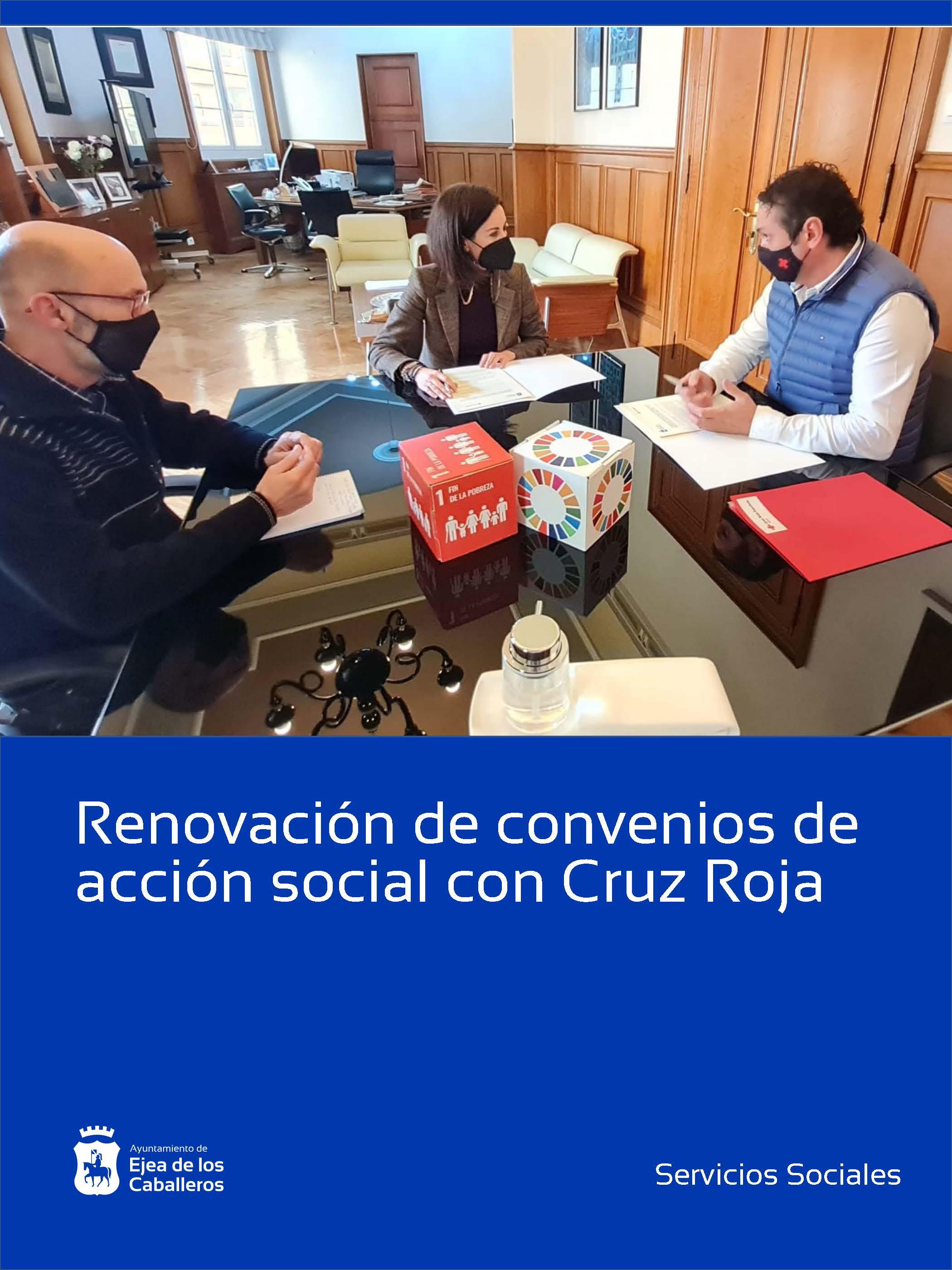 Cruz Roja y Ayuntamiento de Ejea de los Caballeros suscriben convenios en materia de acción social
