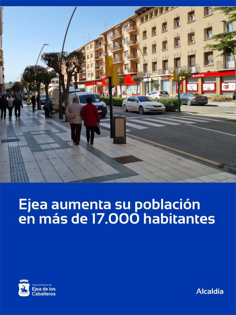 Ejea aumenta su población y supera los 17.000 habitantes