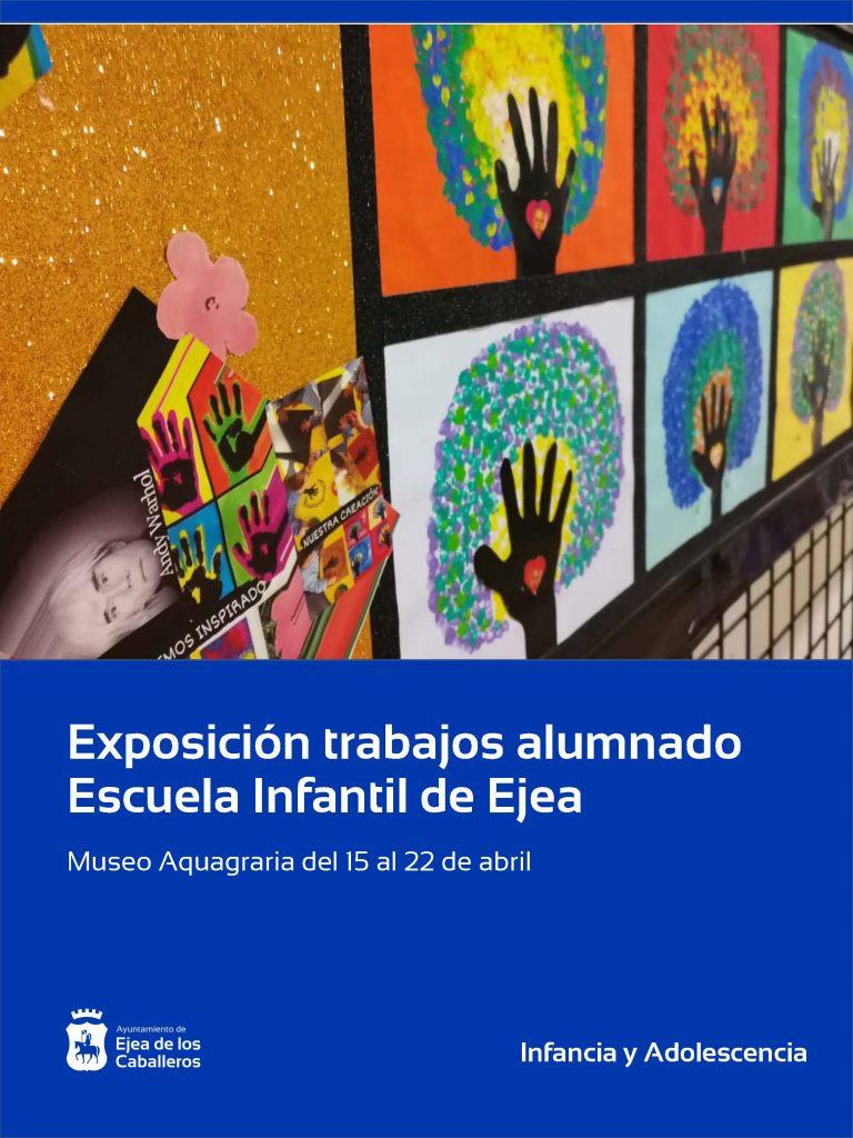 Los alumnos de la Escuela Infantil de Ejea exponen sus obras con motivo del Día Mundial del Arte