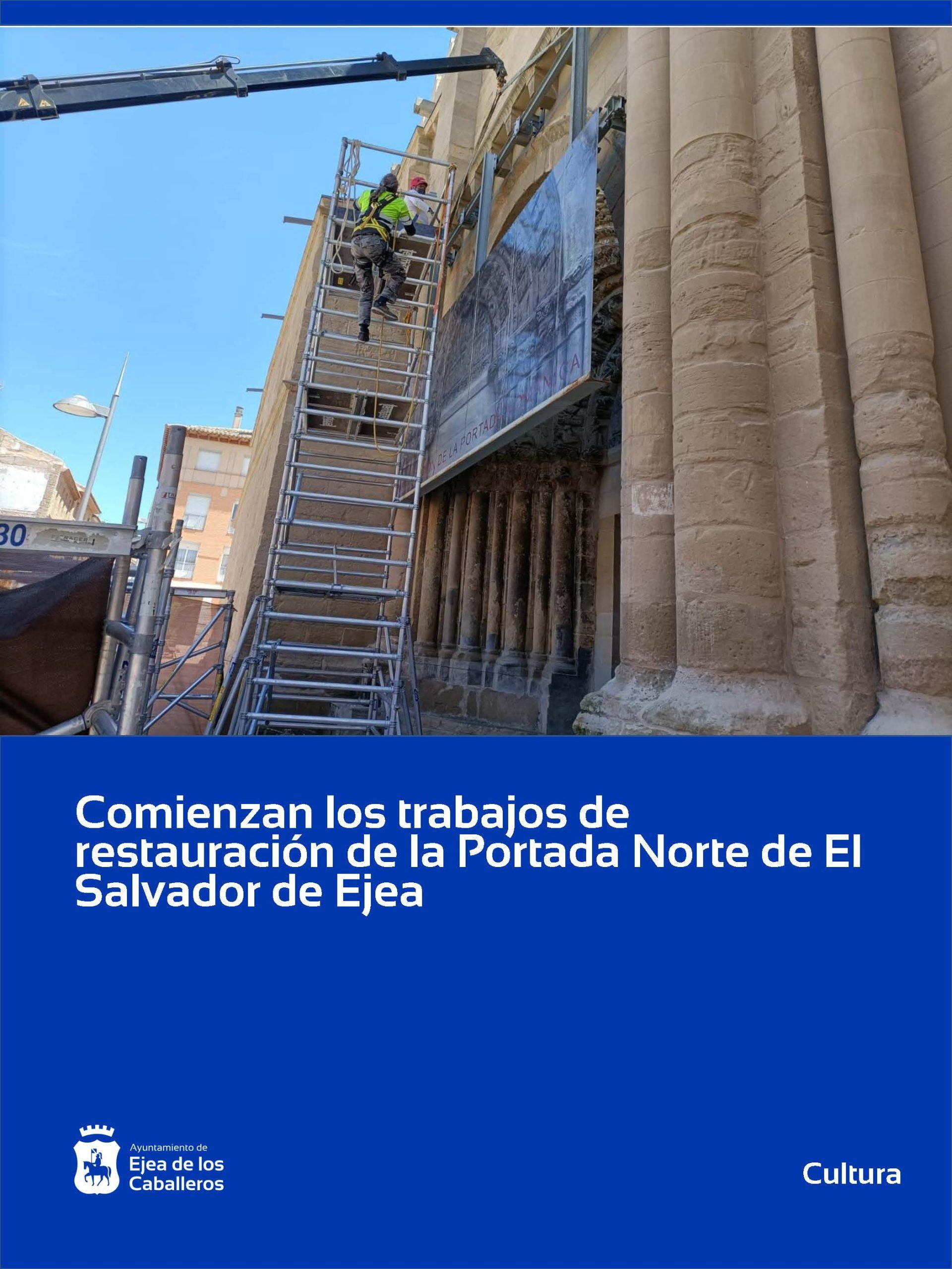 Comienza la restauración de la portada norte de la Iglesia de El Salvador de Ejea de los Caballeros