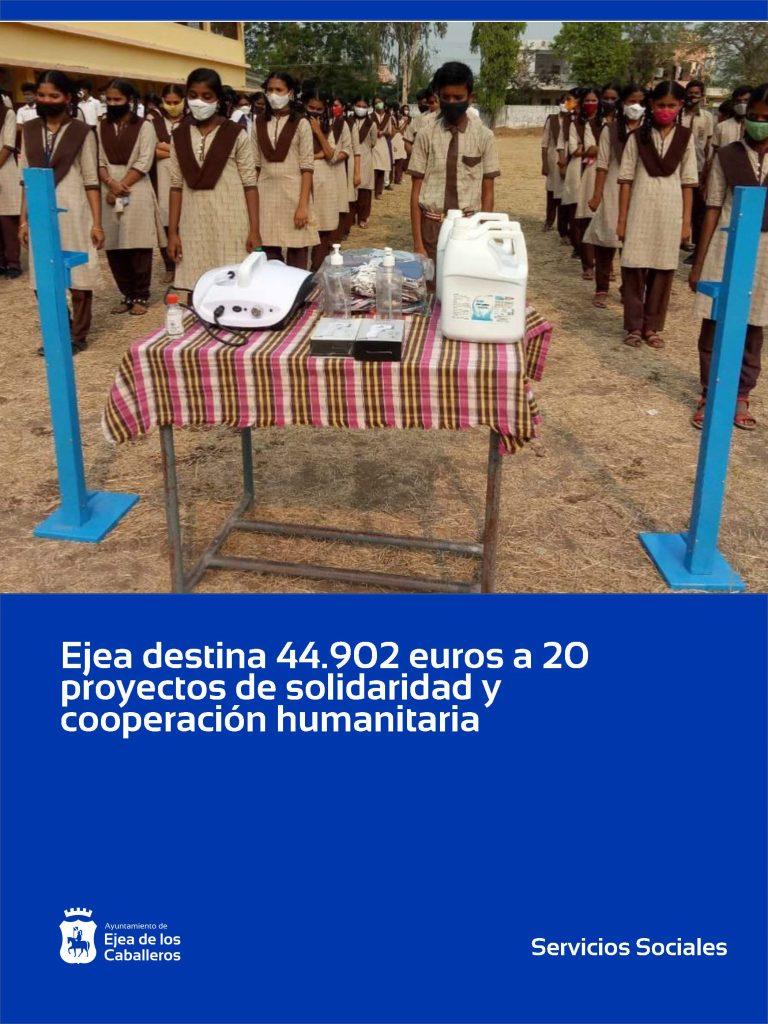 El Ayuntamiento de Ejea de los Caballeros destina 44.902 euros a 20 proyectos de solidaridad, cooperación y ayuda humanitaria