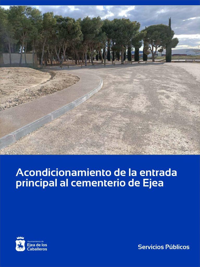 Finalizados los trabajos de adecuación de la entrada principal al cementerio de Ejea