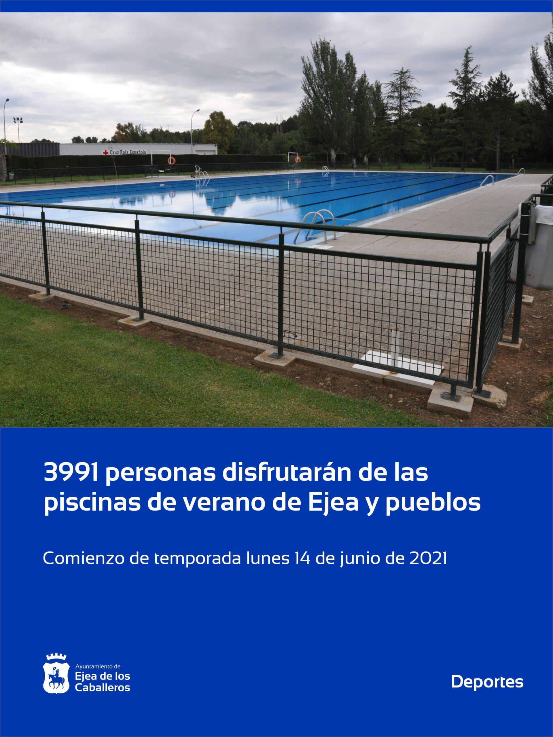 3.991 personas disfrutarán de las piscinas de Ejea de los Caballeros y sus Pueblos con medidas especiales frente a la COVID-19