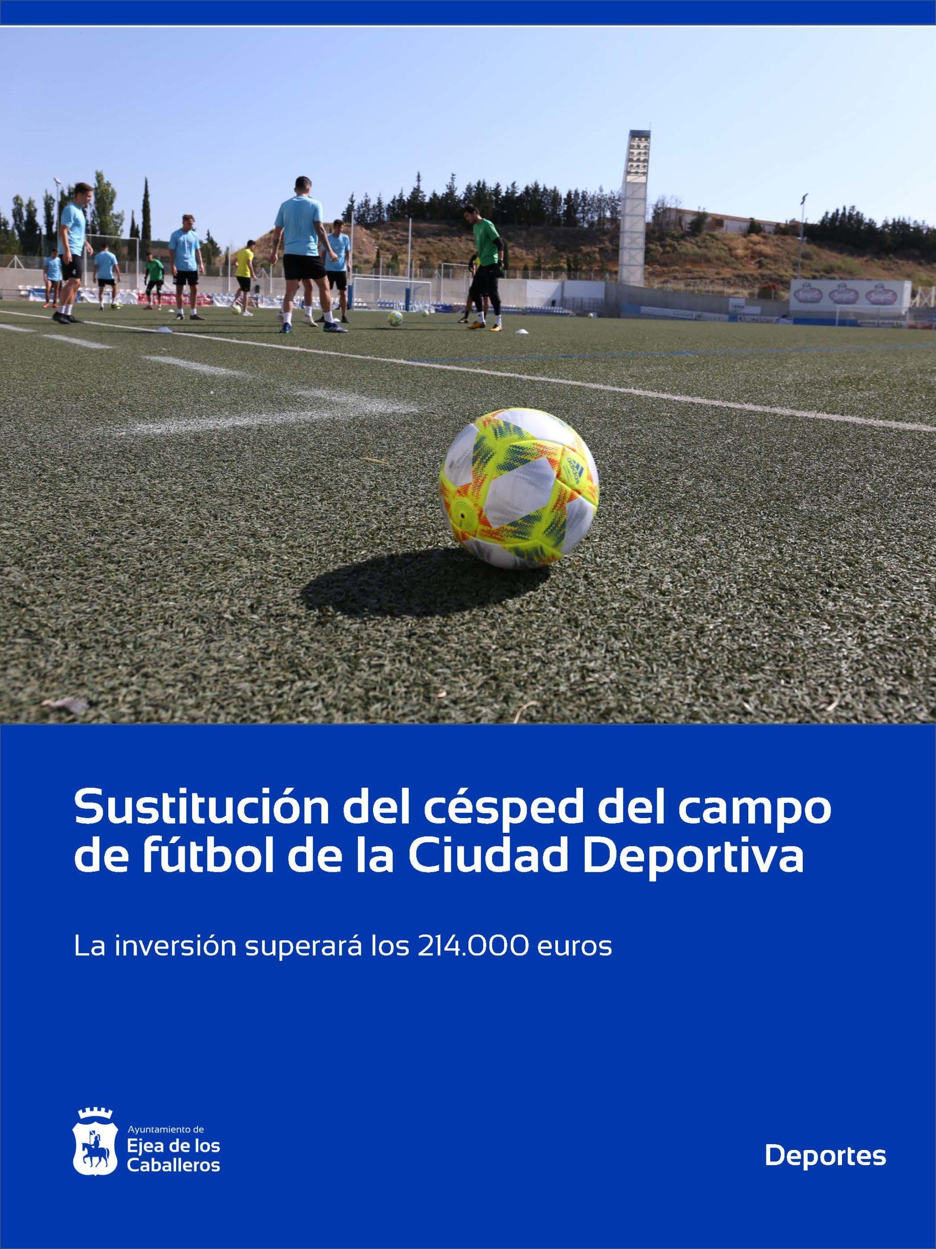 Reposición del césped artificial del campo de fútbol-rugby del Estadio de la Ciudad Deportiva de Ejea