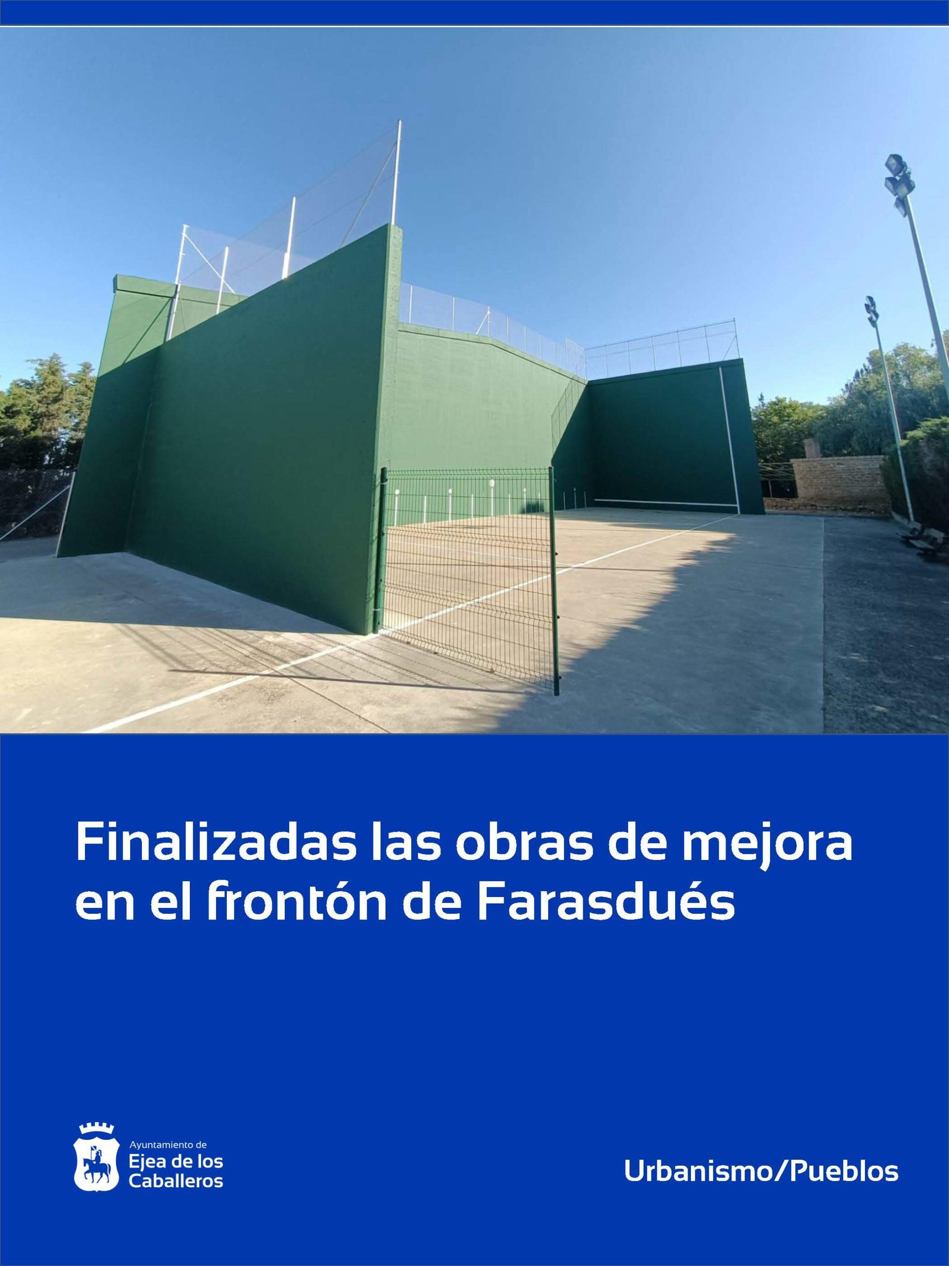Finalizadas las obras de mejora del frontón en Farasdués