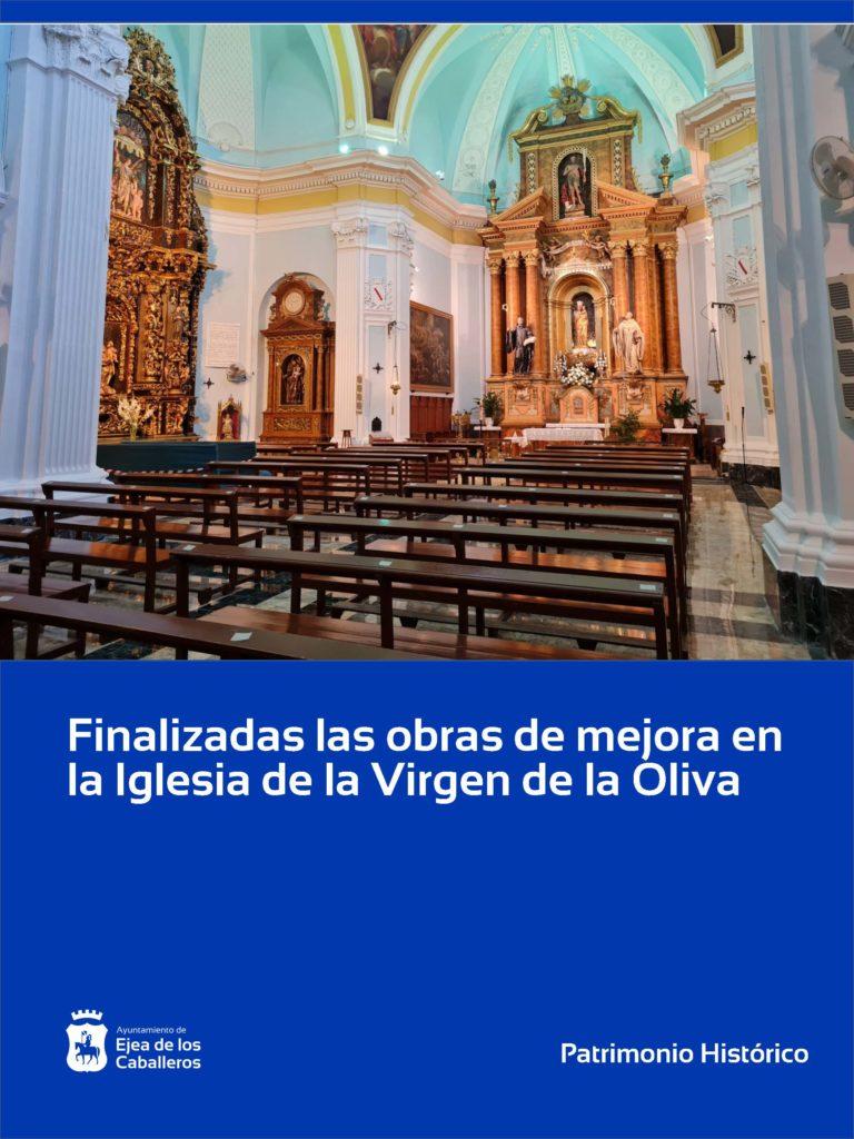Finalizadas las obras de mejora de la iglesia de la Virgen de la Oliva en Ejea