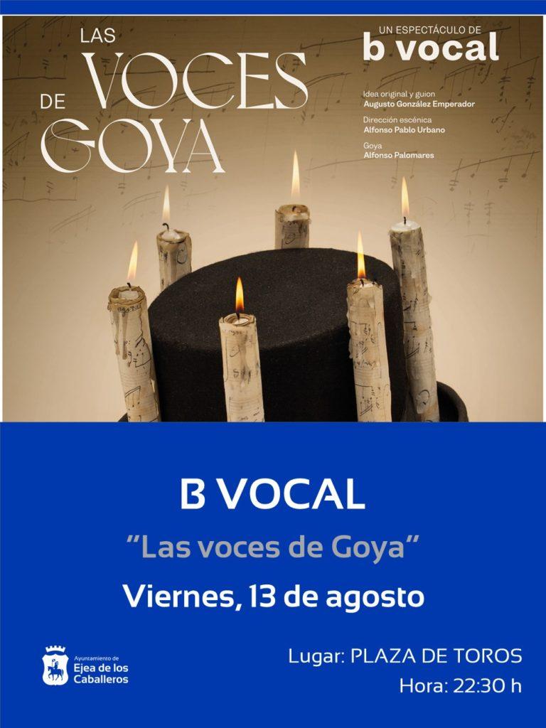 ¡Sigamos aplaudiendo! recordará al aragonés más universal con el grupo B Vocal y su espectáculo «Las voces de Goya».