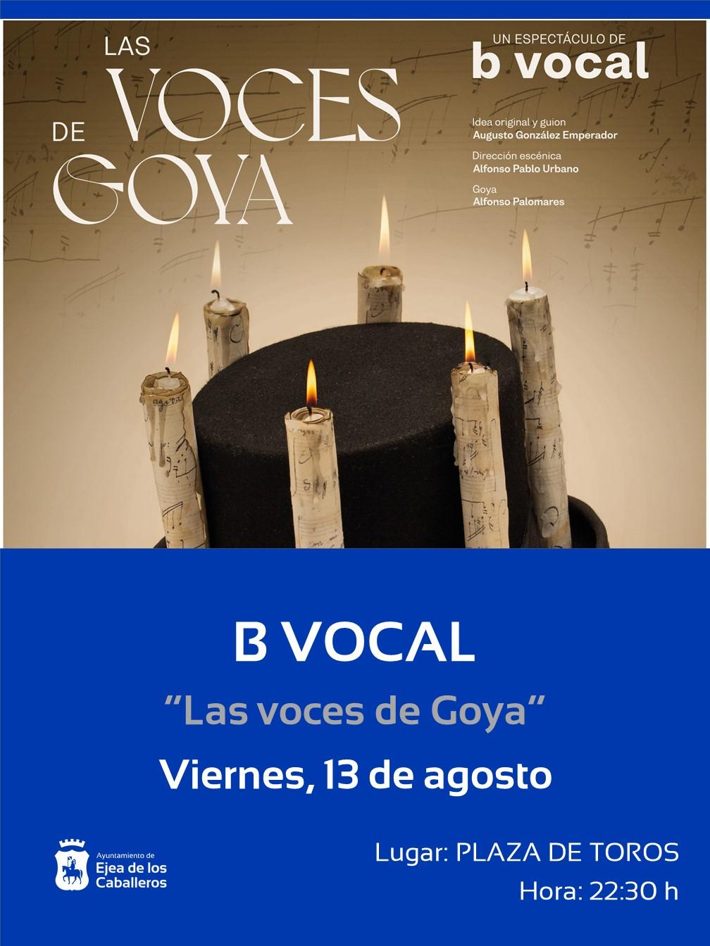 En este momento estás viendo ¡Sigamos aplaudiendo! recordará al aragonés más universal con el grupo B Vocal y su espectáculo «Las voces de Goya».