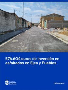 El Ayuntamiento de Ejea de los Caballeros invierte en asfaltados 576.604,09 euros en los dos últimos años