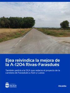 Lee más sobre el artículo Ejea reivindica la mejora de la carretera A-1204 en su tramo Rivas-Farasdués