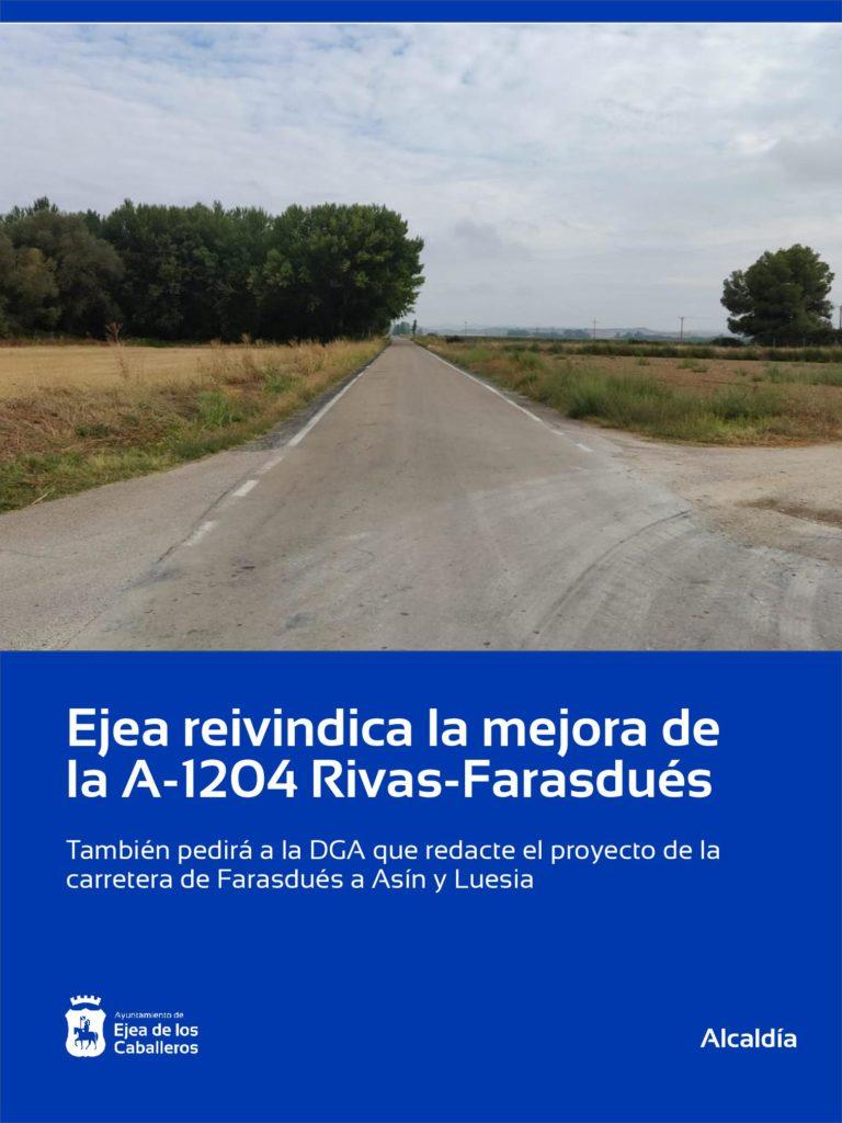 Ejea reivindica la mejora de la carretera A-1204 en su tramo Rivas-Farasdués
