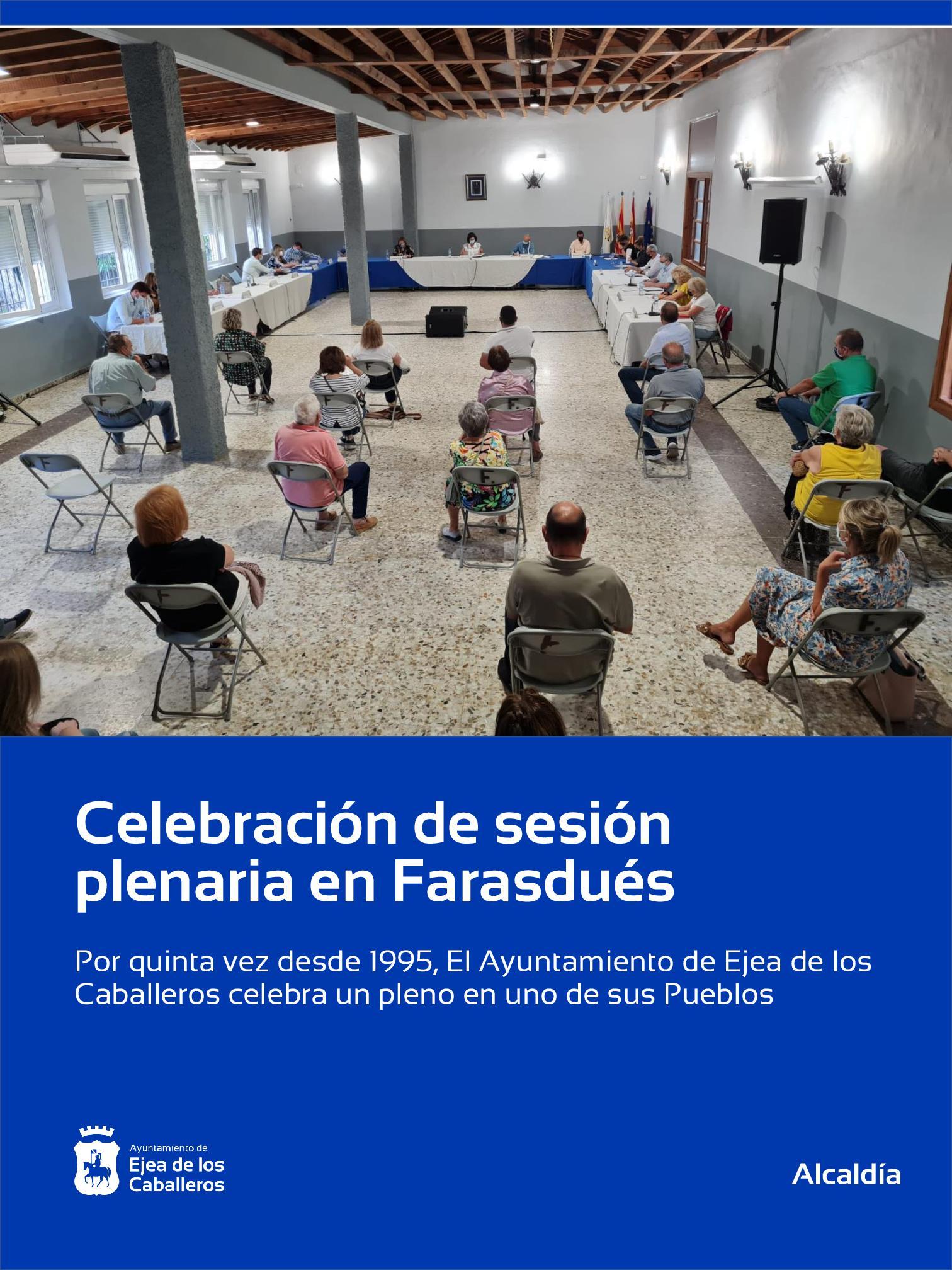 Celebrado un pleno extraordinario del Ayuntamiento de Ejea de los Caballeros en Farasdués