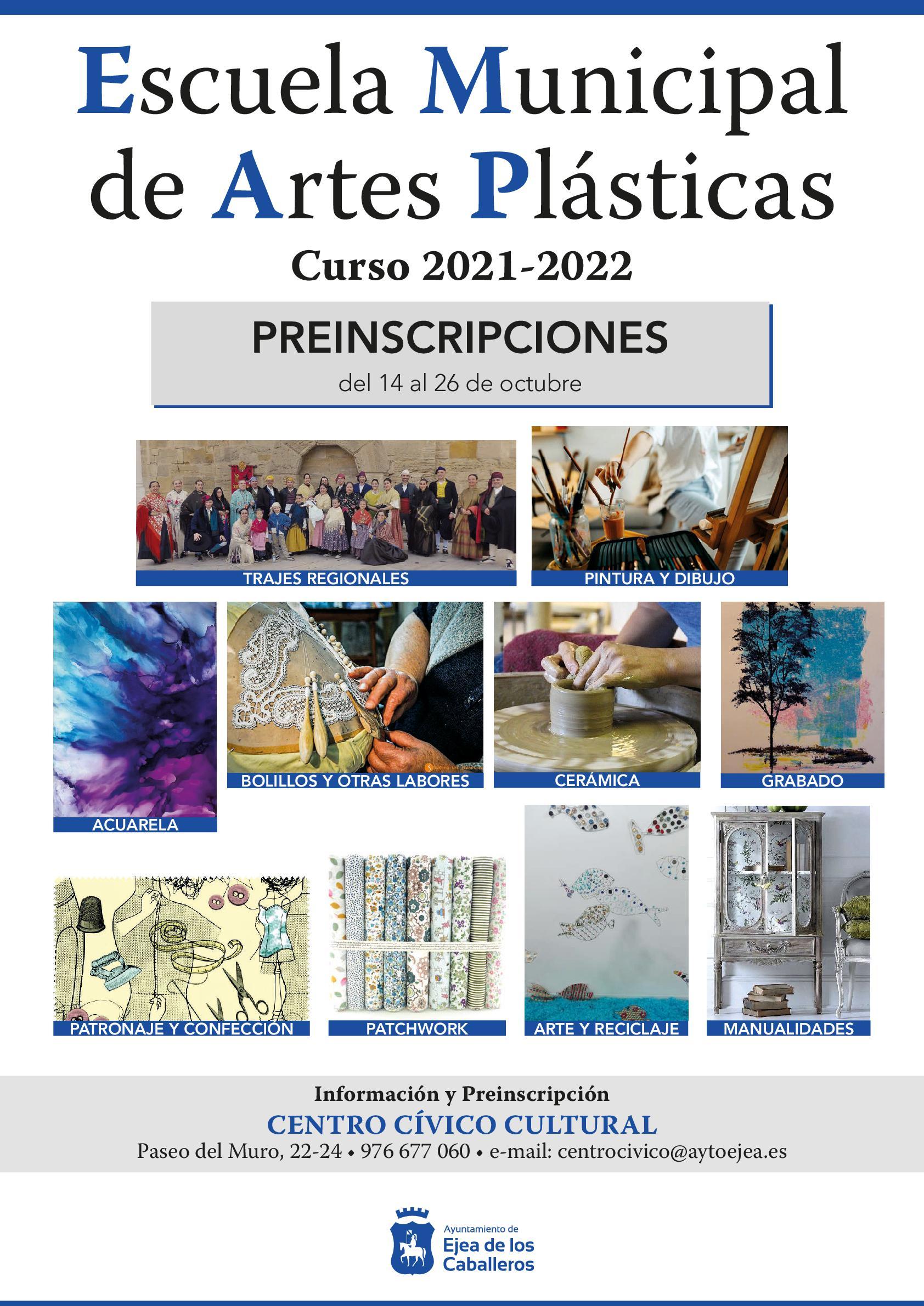 En este momento estás viendo Escuela Municipal de Artes Plásticas: Apertura del plazo de preinscripciones para el curso 2021-2022