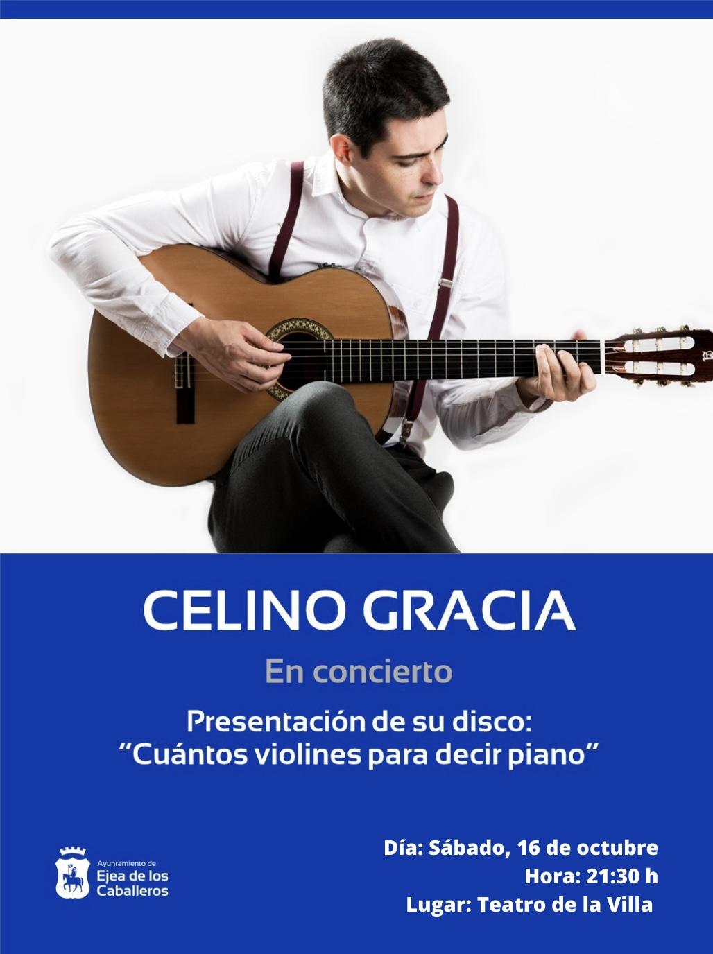 """En este momento estás viendo El cantautor Celino Gracia abre la programación cultural de otoño y presenta su disco """"Cuántos violines para decir piano"""""""