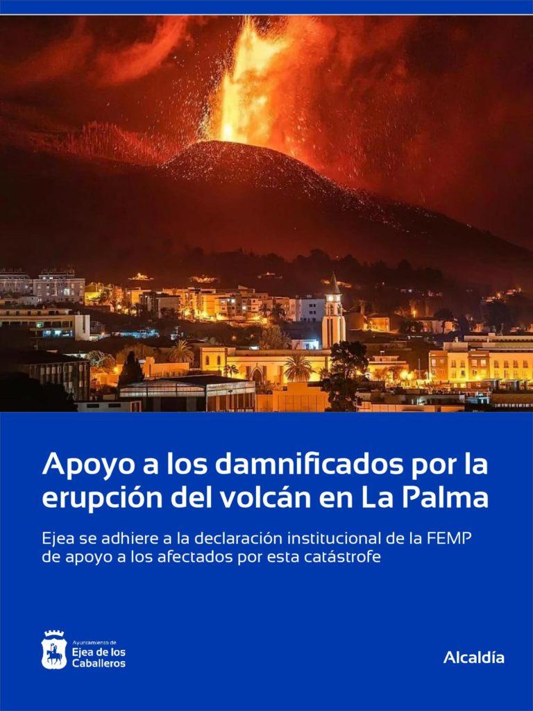 Lee más sobre el artículo Ejea se suma al apoyo a los damnificados por la erupción del volcán en La Palma